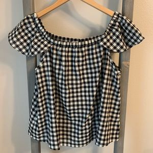 J. Crew Gingham Off Shoulder Top
